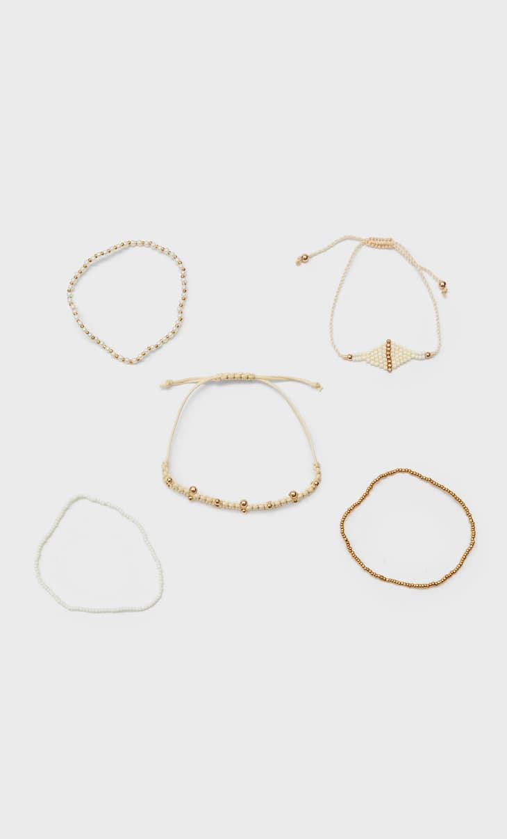 Set of 5 natural bracelets