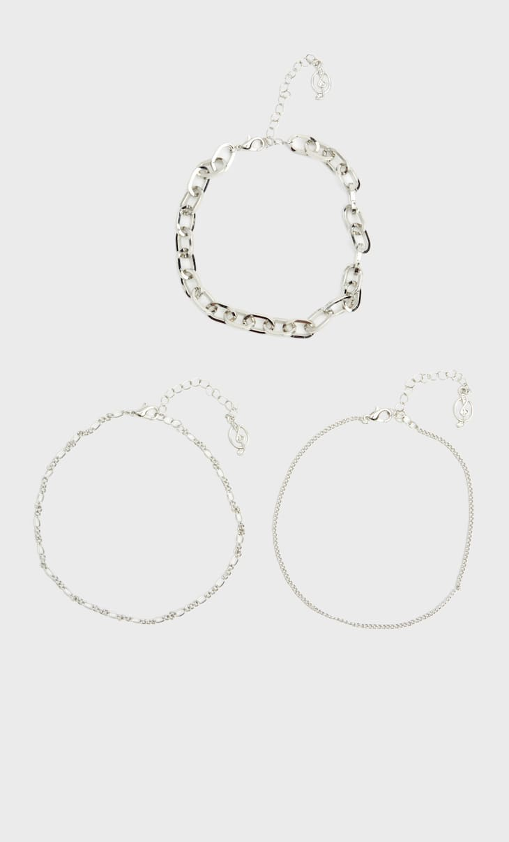 Set of 3 metal anklets