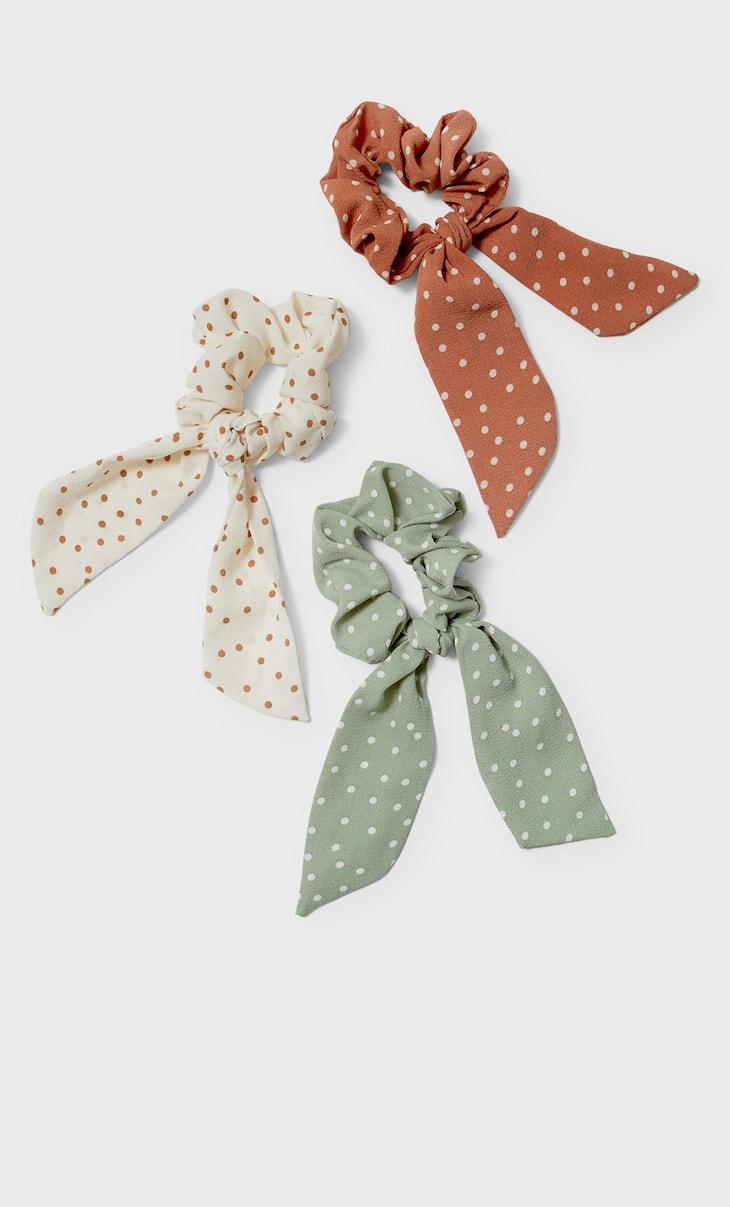 Set of 3 polka dot tie scrunchies