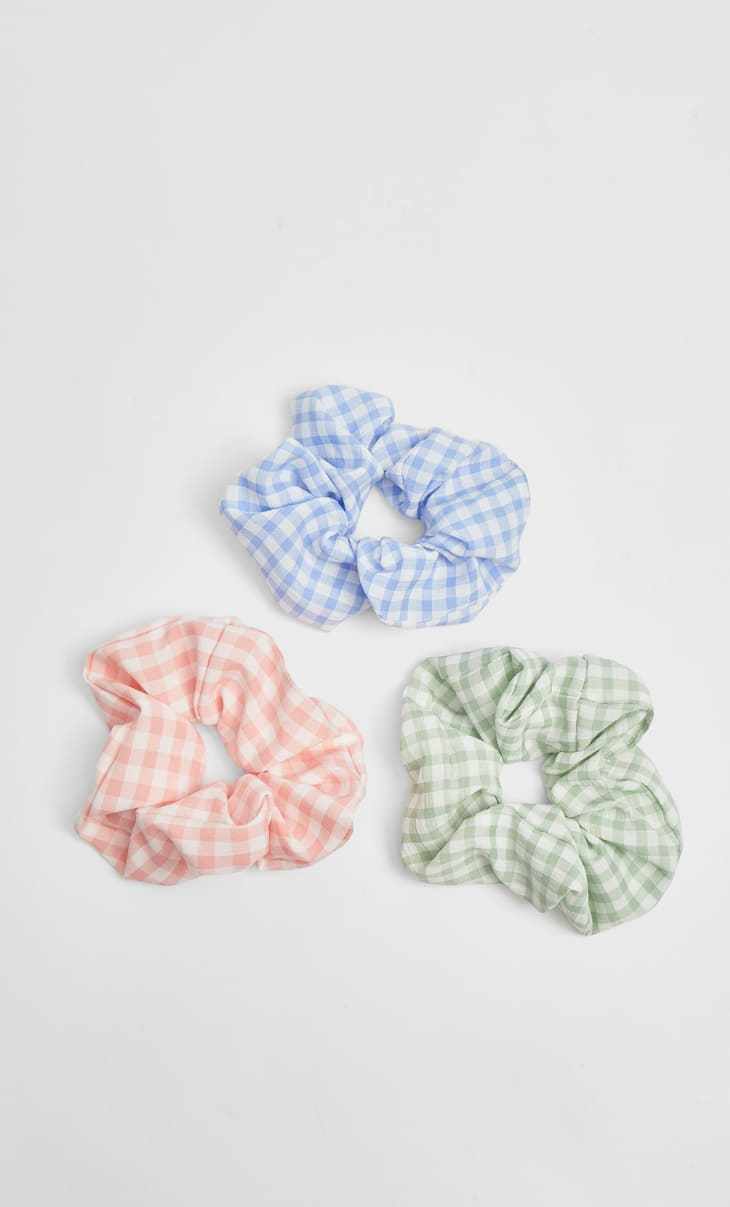 Set of 3 gingham scrunchies