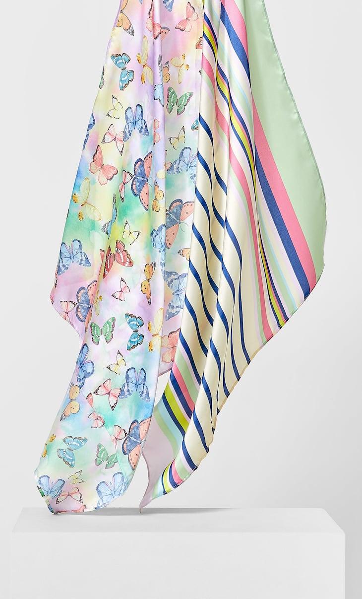 2-Pack bandana's met vlinders en strepen