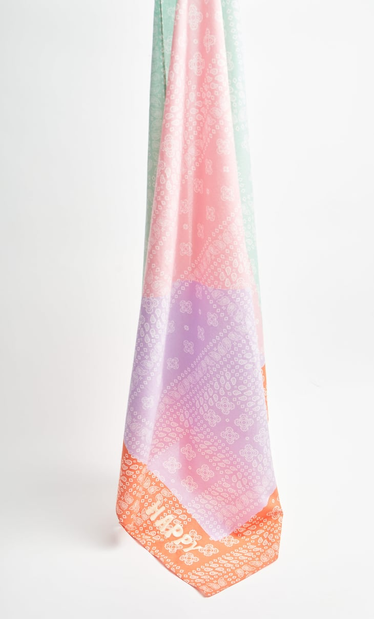 Colour block paisley scarf