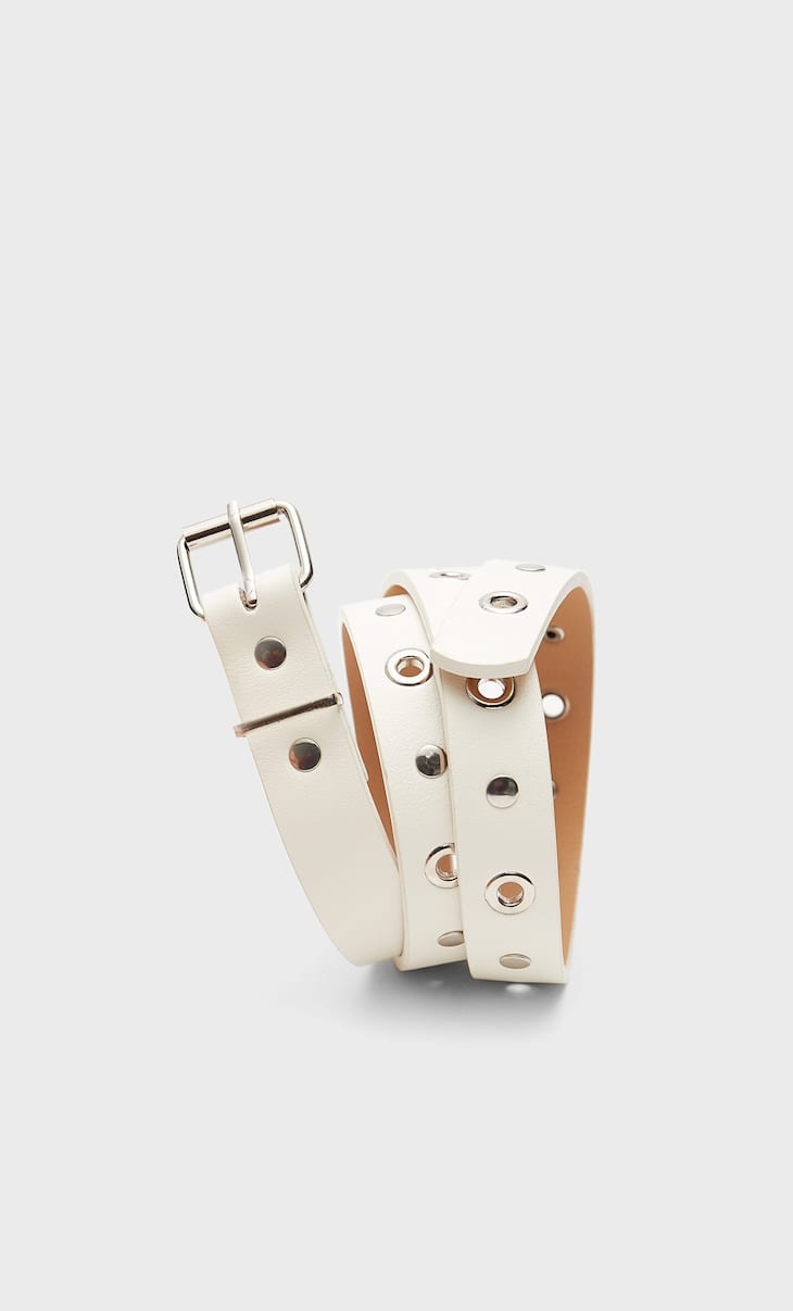 Thin belt with eyelets and studs