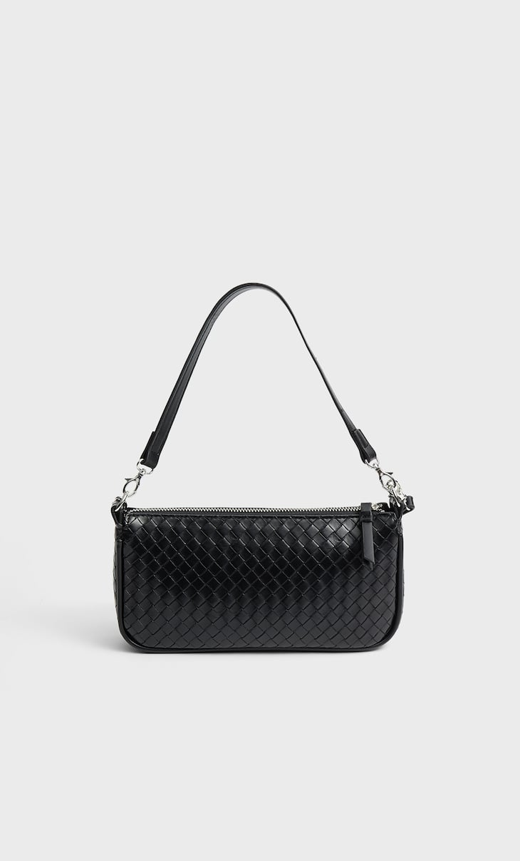 Woven crossbody bag with chain