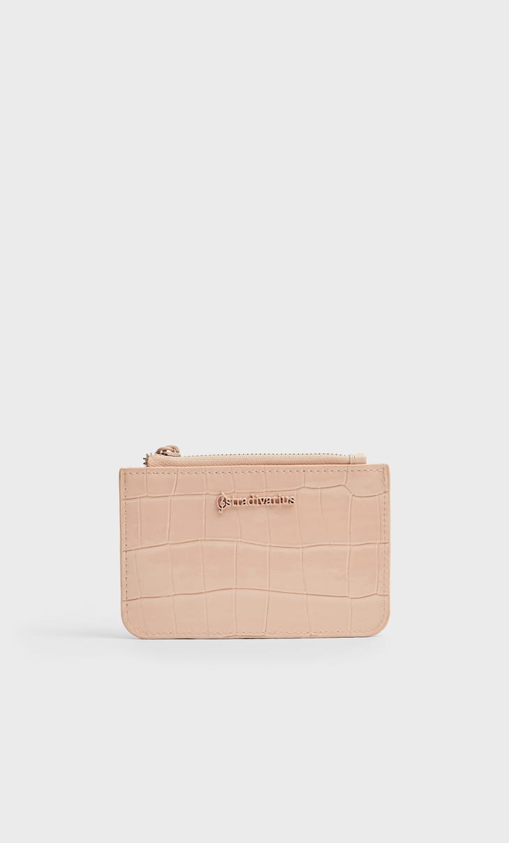 Faux-patent-finish card holder