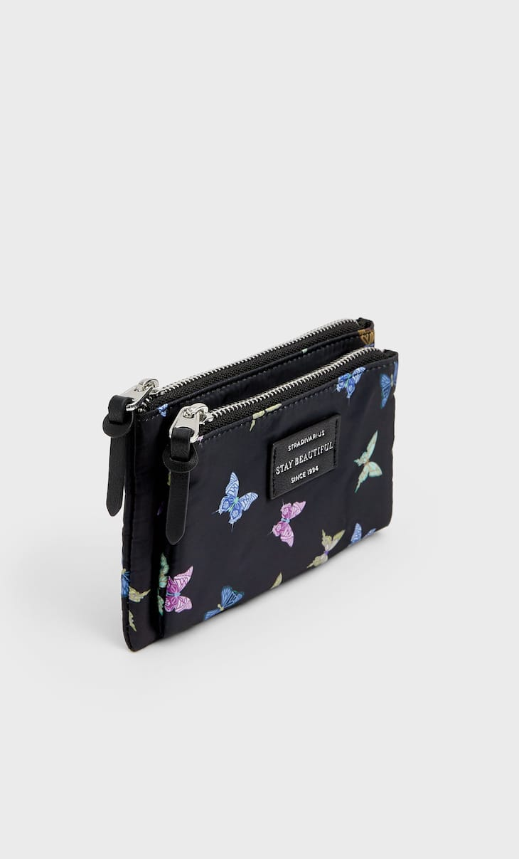Printed purse with zips