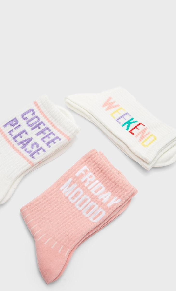 Colourful slogan socks
