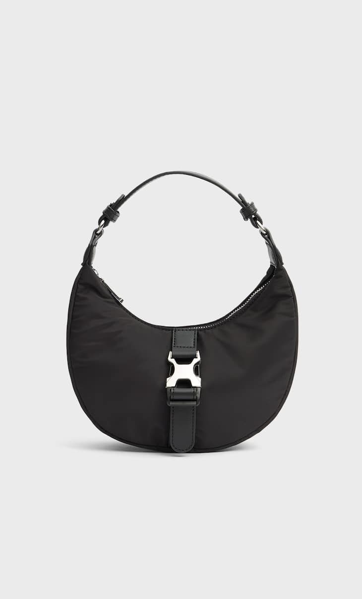 Fabric crossbody bag with buckle