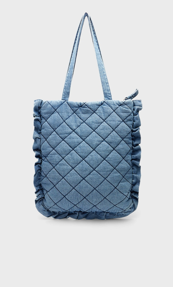 Bolso shopper denim acolchado
