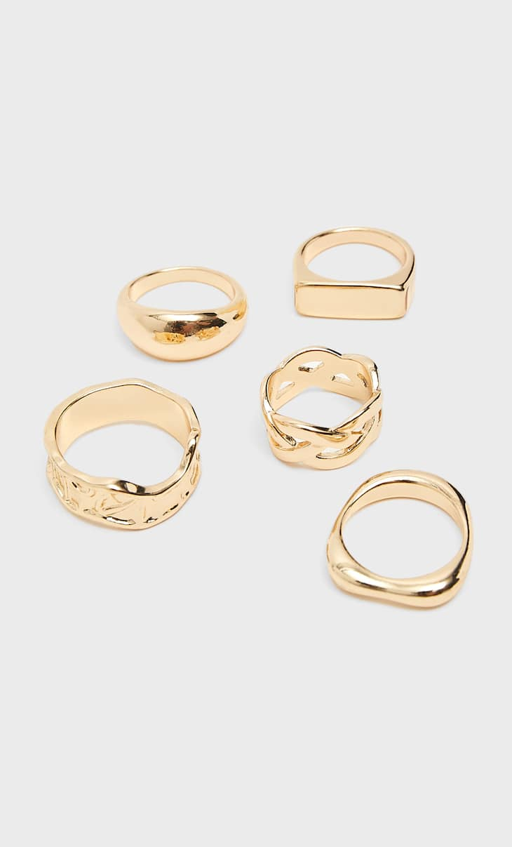 Set of 5 metallic rings