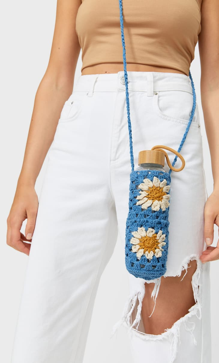 Floral crochet bottle holder