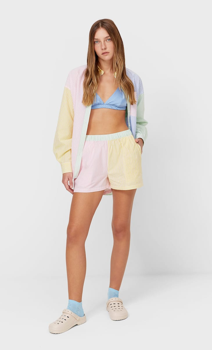 Striped poplin pyjama shorts