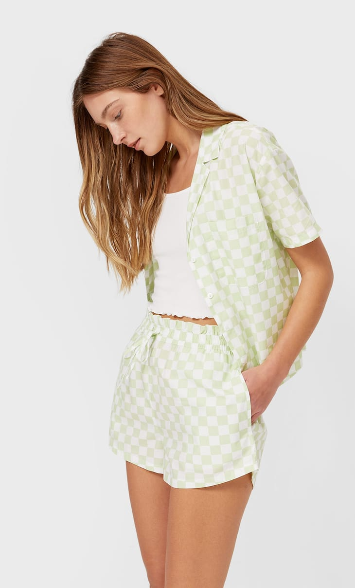 Gathered poplin pyjama shorts