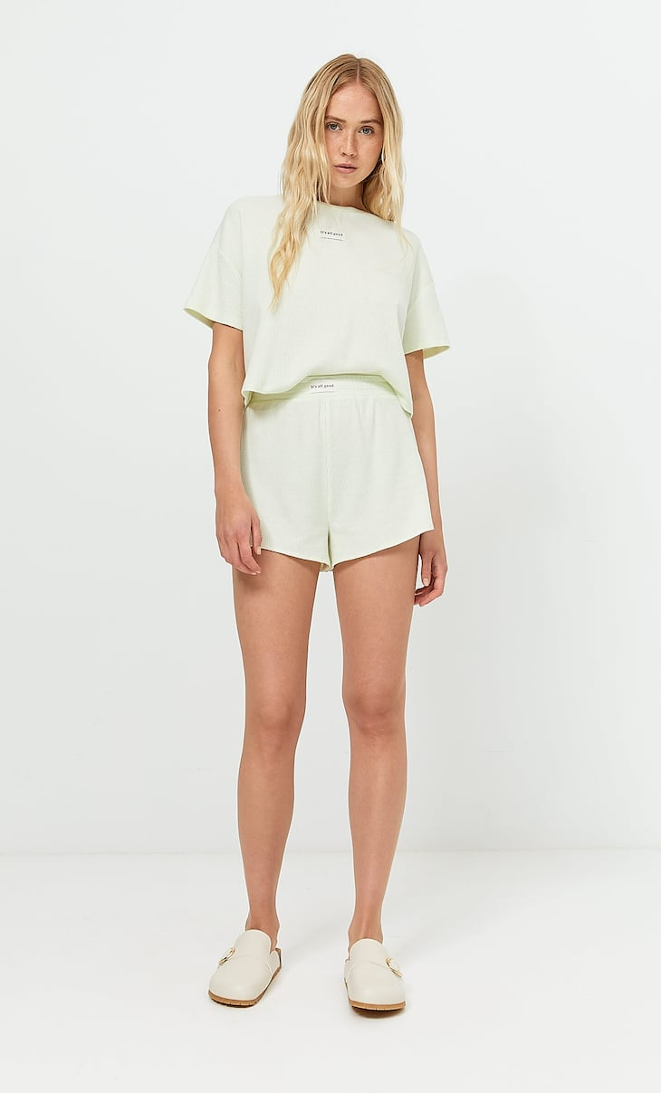 Waffle-texture pyjama T-shirt