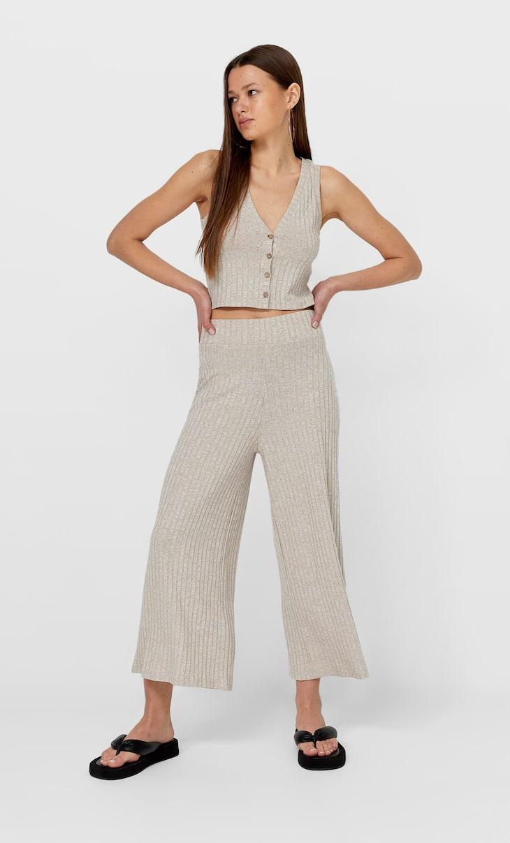 Spodnie culotte z dzianiny