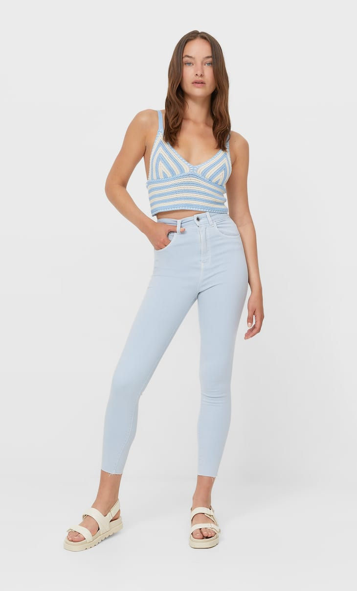 Coloured super high waist jeans