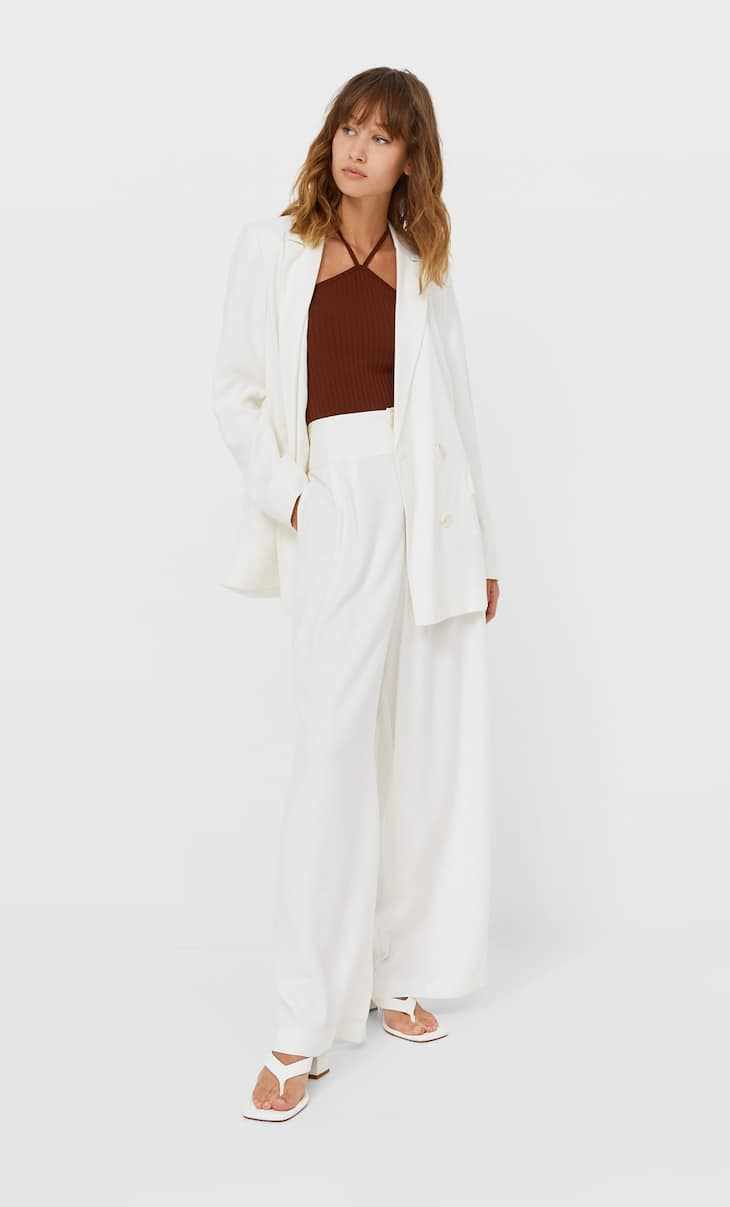 Buttoned palazzo trousers