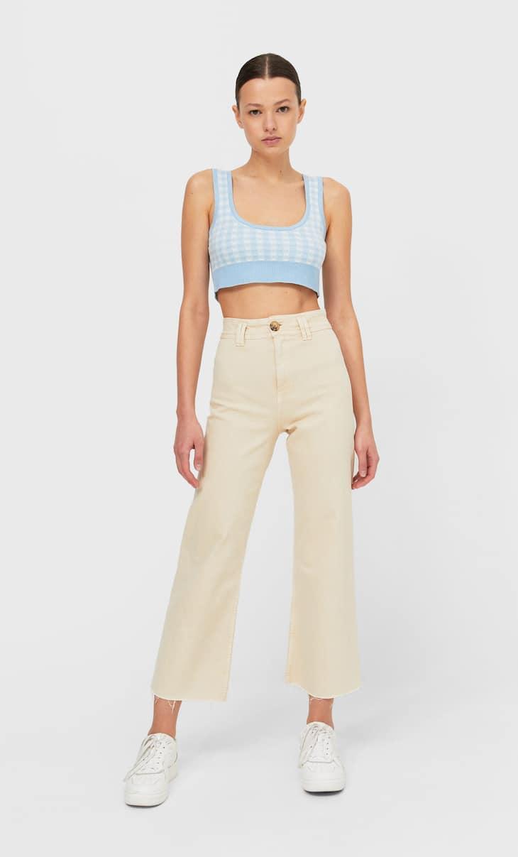 Calças culottes de sarja sem costuras