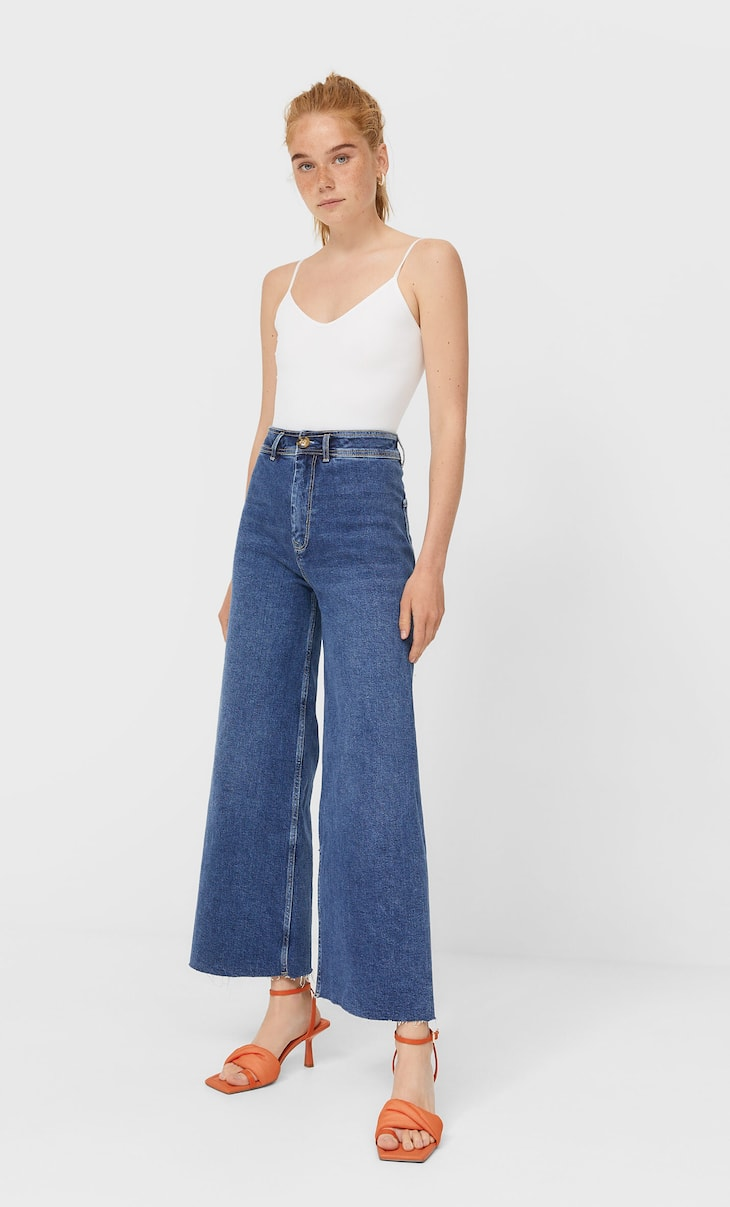 Jeans cropped sans coutures