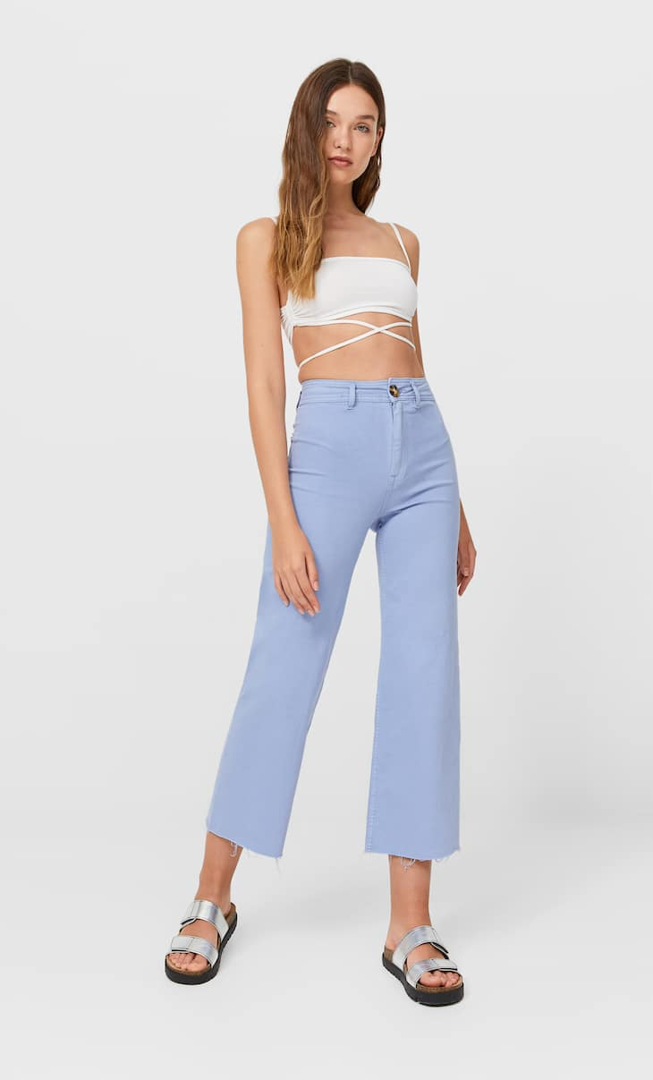 Keprové bezšvové culotte nohavice