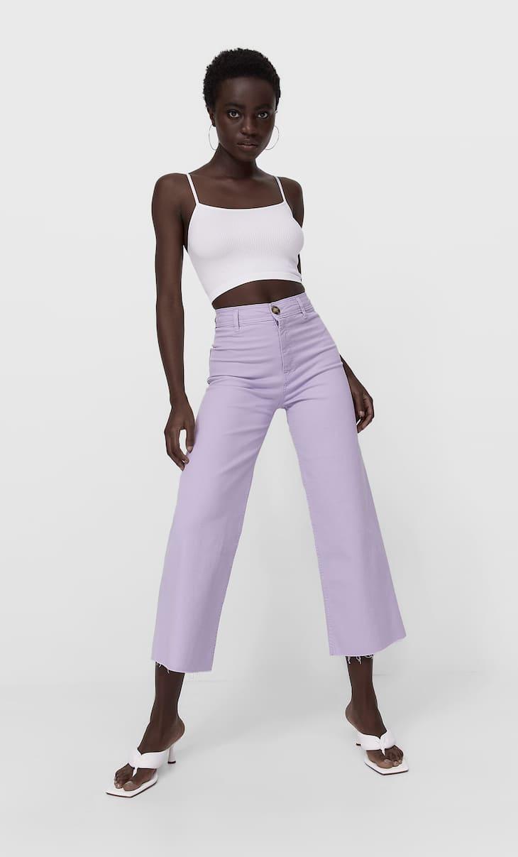 Bezszwowe spodnie culotte z diagonalu