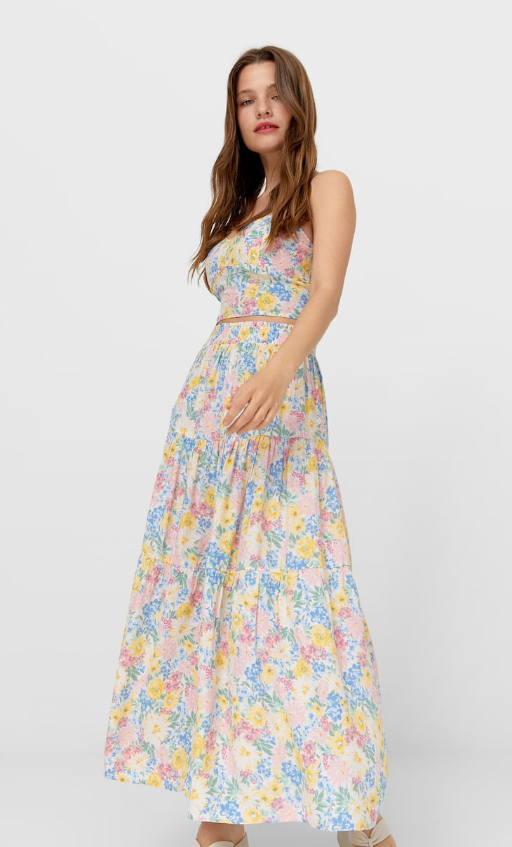 Long floral peasant skirt