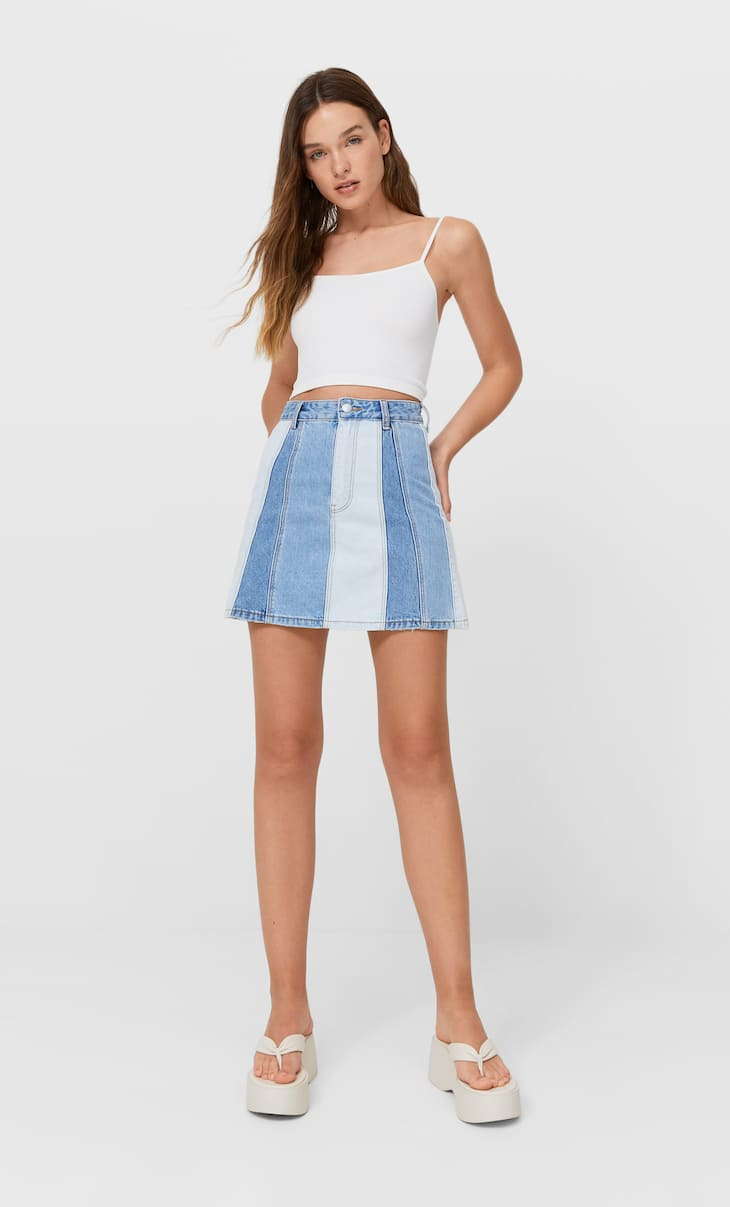 Reworked denim mini skirt