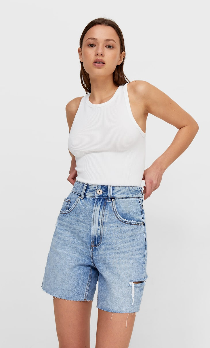 Short denim longline