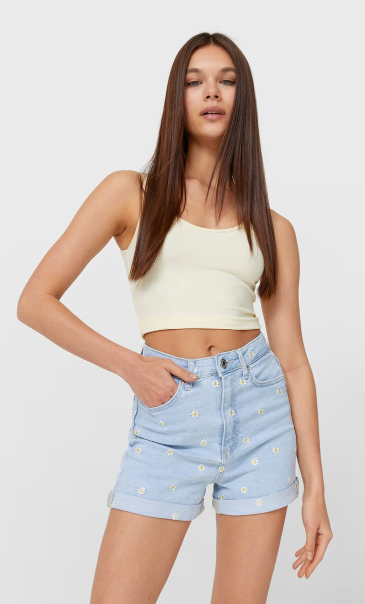 Mom-Shorts im Slim-Fit aus Jeansstoff mit Stickerei
