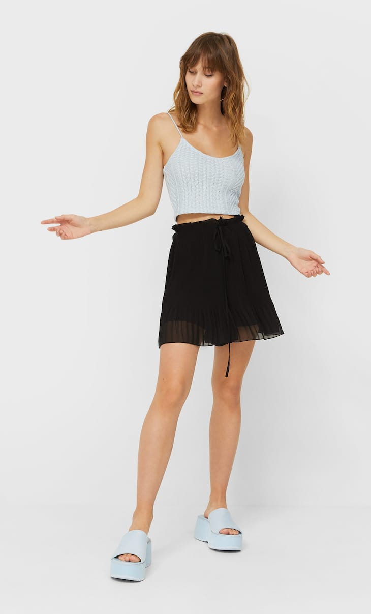 Pleated drawstring shorts