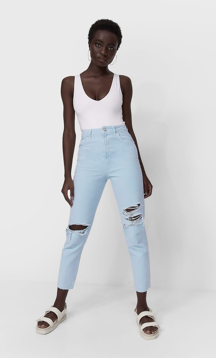 Jeans déchirés mom fit