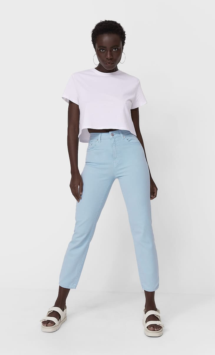 Slim fit colour mom jeans