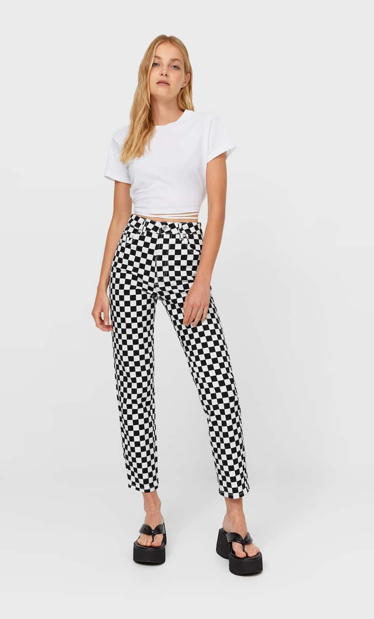 Checked slim fit mom jeans