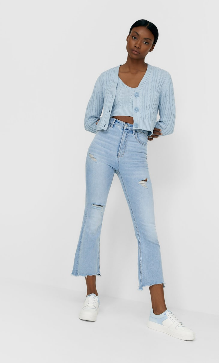 Jeans cropped flare