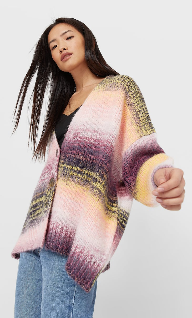 Multicoloured knitted cardigan