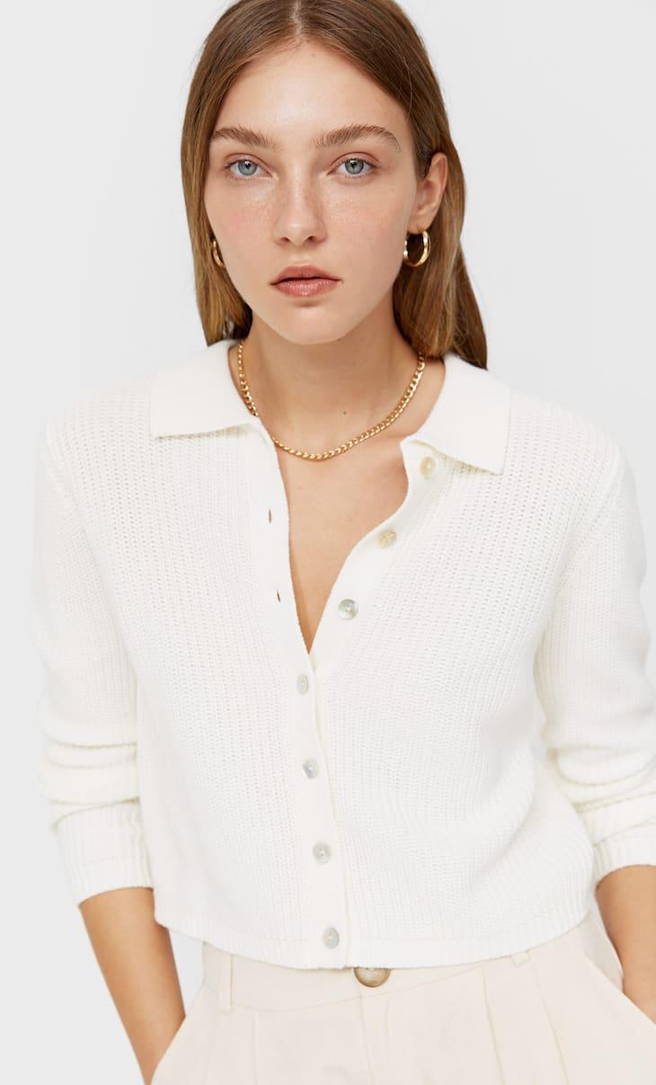 Knit polo cardigan