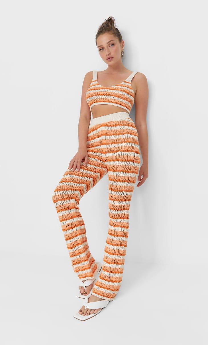 Striped crochet trousers