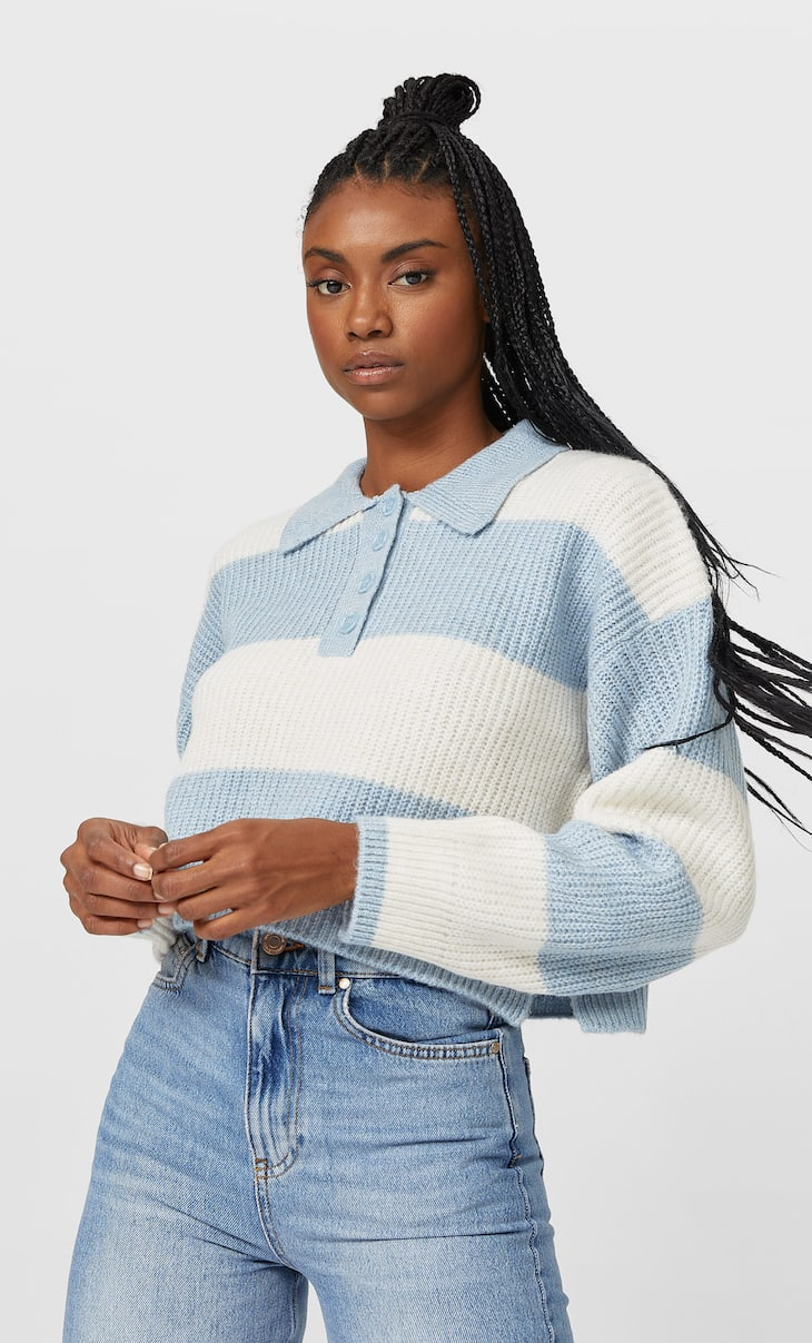 Cropped knit Polo shirt