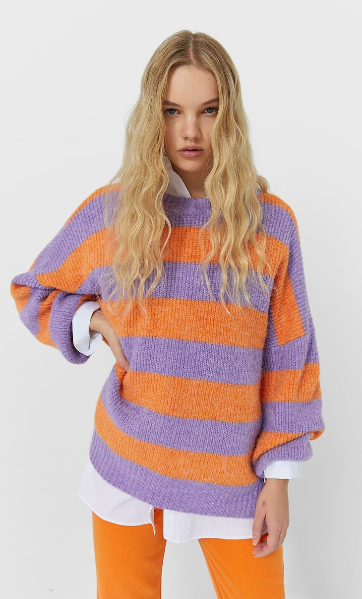 Multicoloured striped sweater