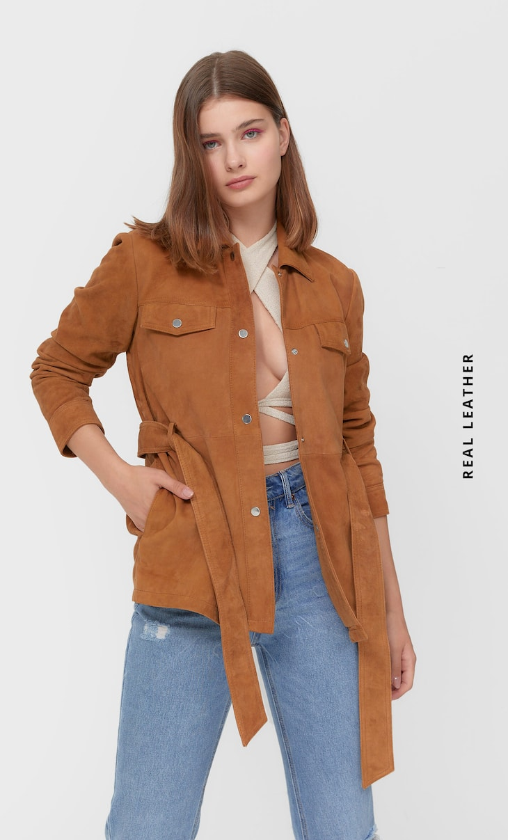 Leather overshirt with belt