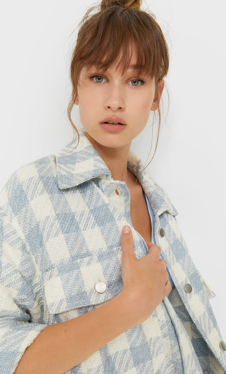 Checked frayed overshirt