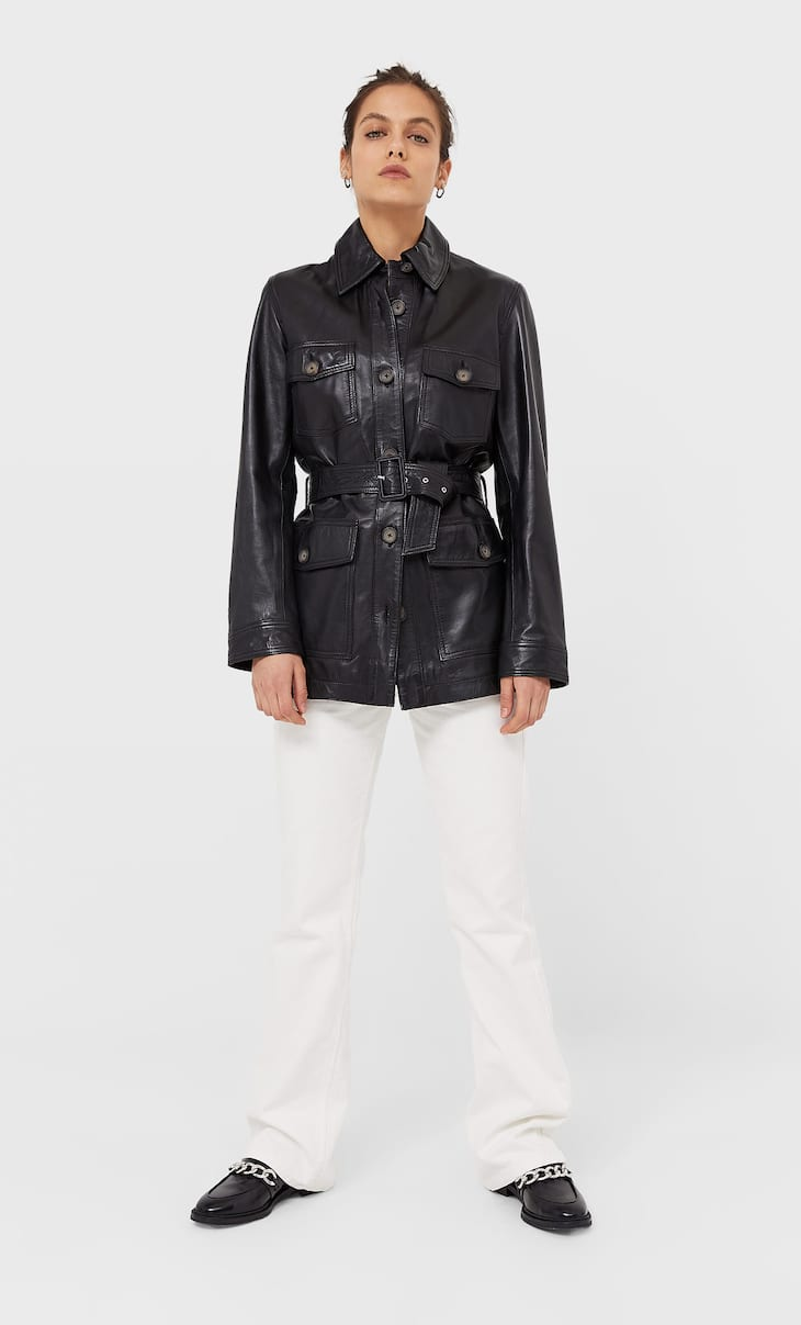 Leather safari jacket with belt