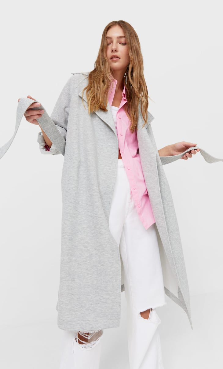Flowing knit trench coat