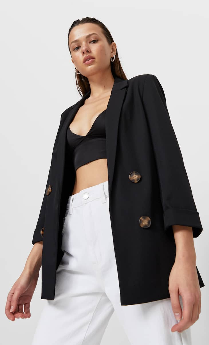 Double-breasted open blazer