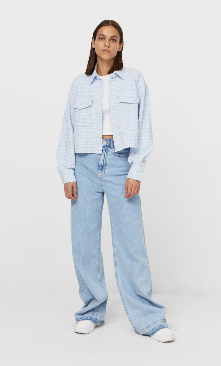 Cropped check overshirt