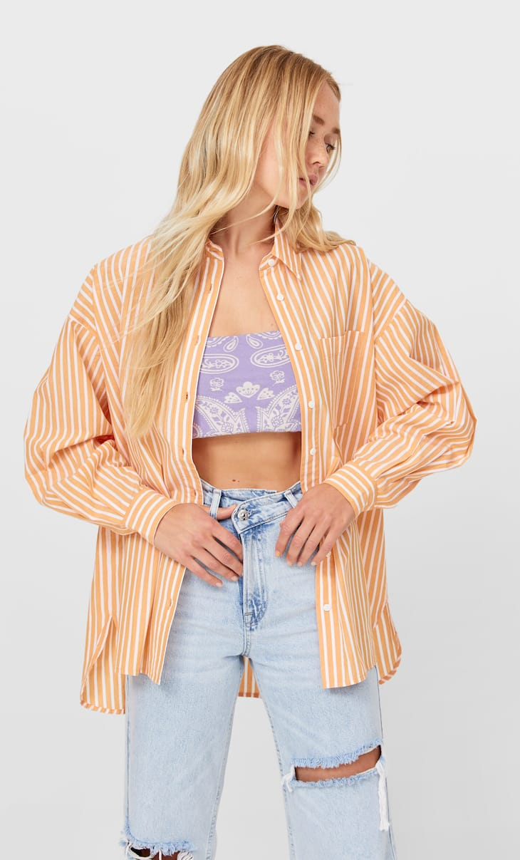 Striped boyfriend poplin shirt