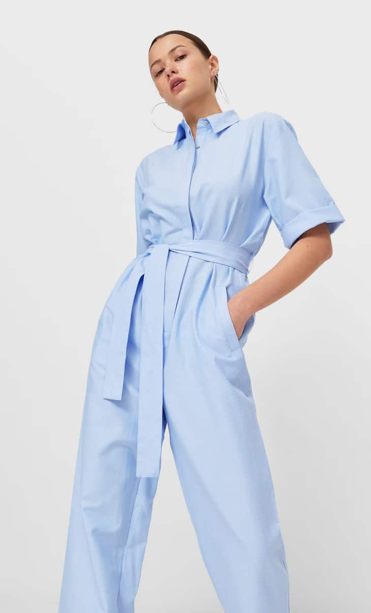 Long Oxford jumpsuit