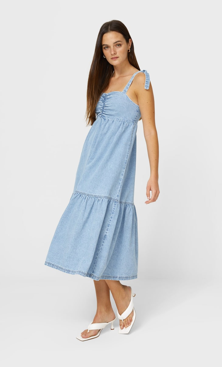 Strappy long denim dress