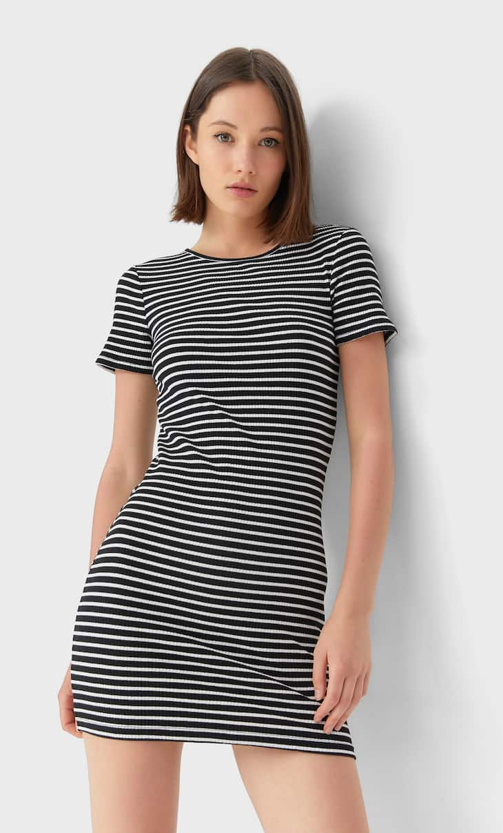 Short sleeve dress with multiple stripes