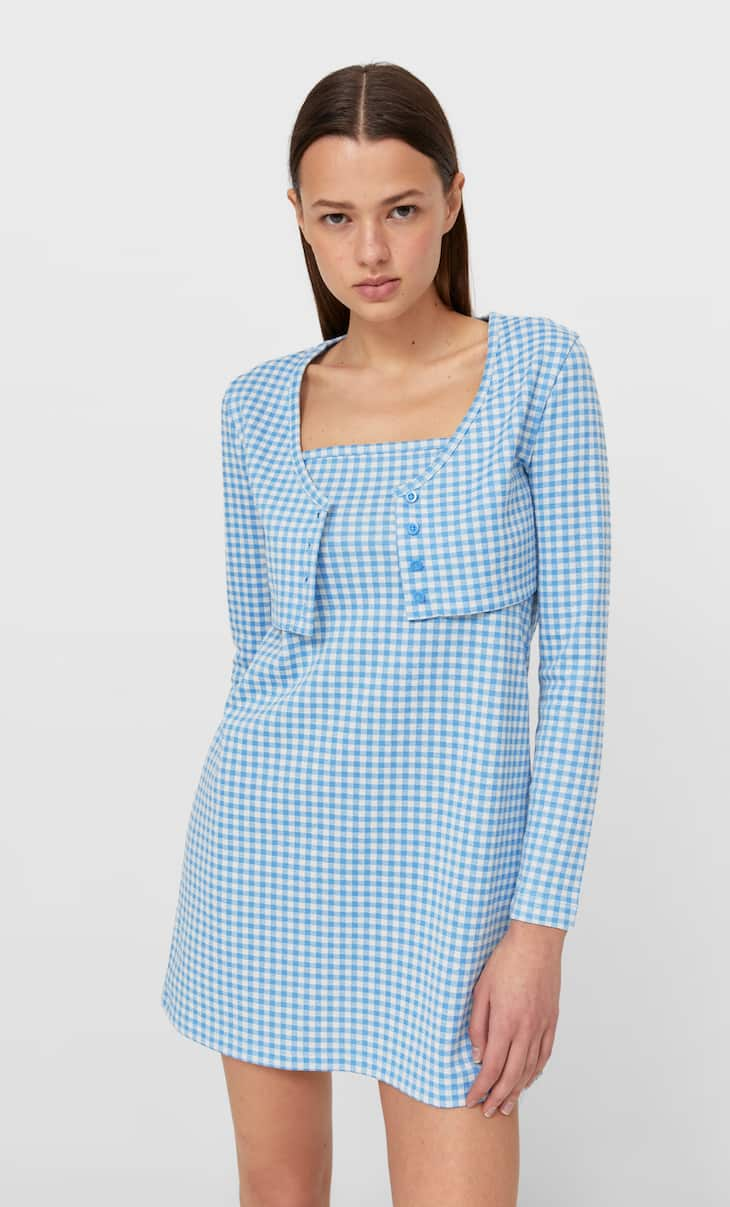 Short gingham dress two-piece set